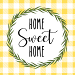 Home Sweet Home Printable Yellow Buffalo Check Wreath