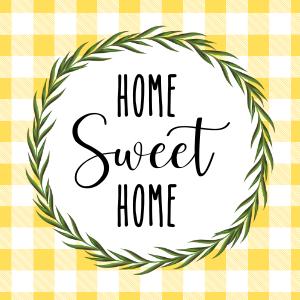 Home Sweet Home Printable Yellow Buffalo Check Wreath