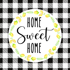 Home Sweet Home Printable Black and White Buffalo Check with Lemon Wreath