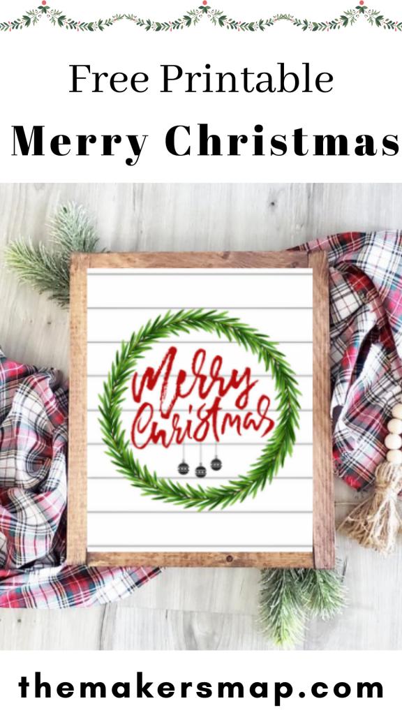 Free merry christmas printable pin