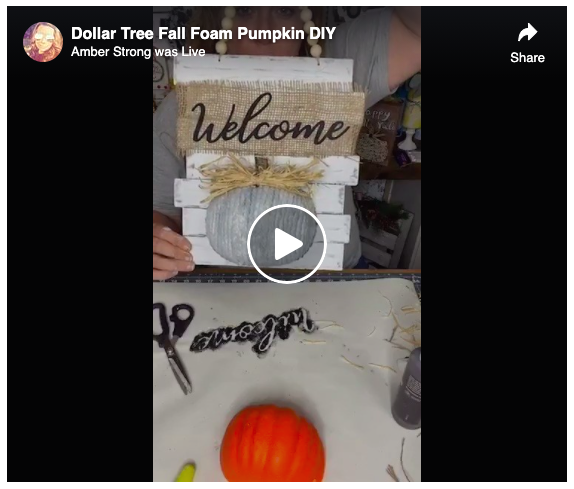 screen grab Dollar Tree Fall Foam Pumpkin DIY