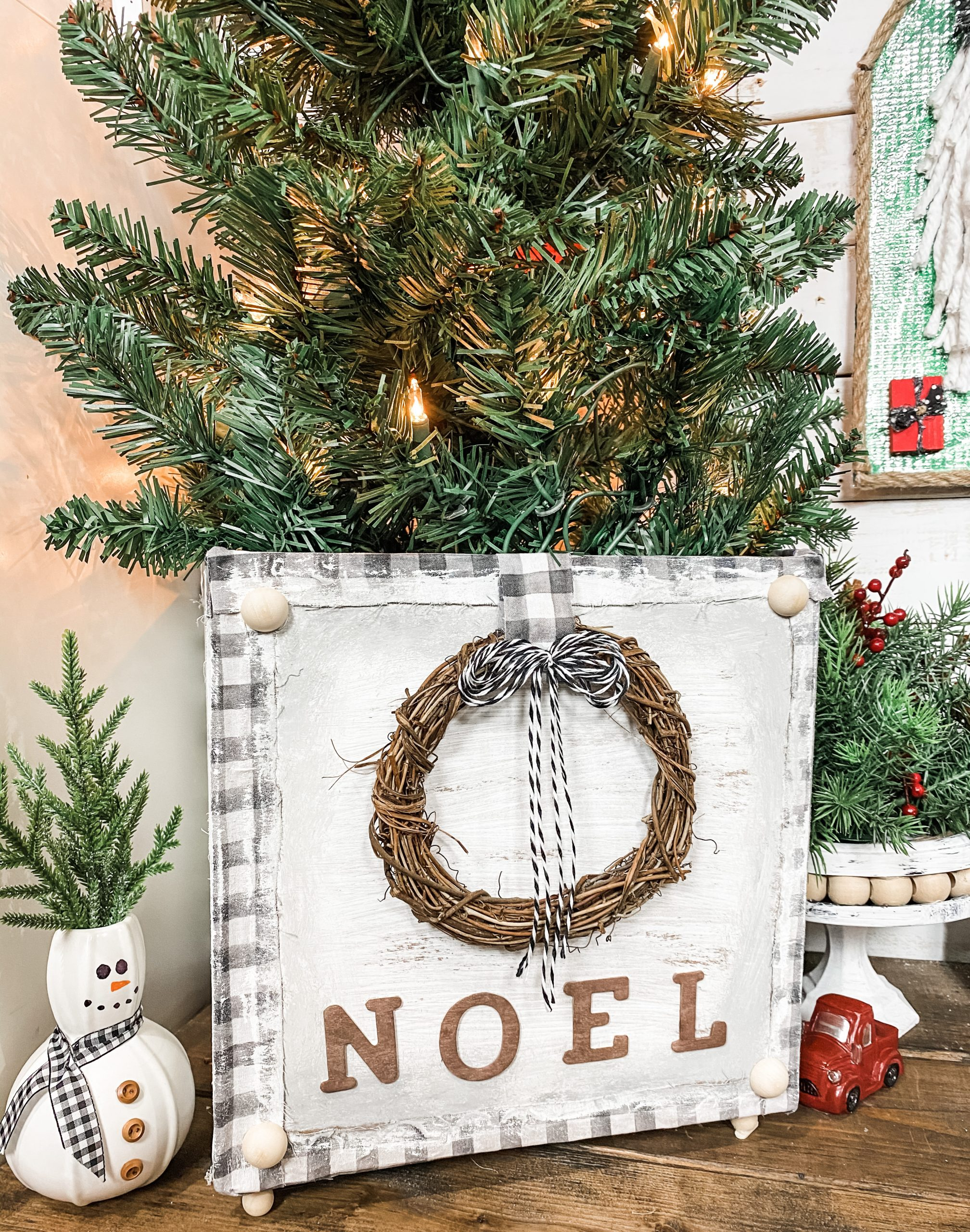 Make A Easy Christmas Tree Stand Box Stand Dollar Tree Diy Farmhouse