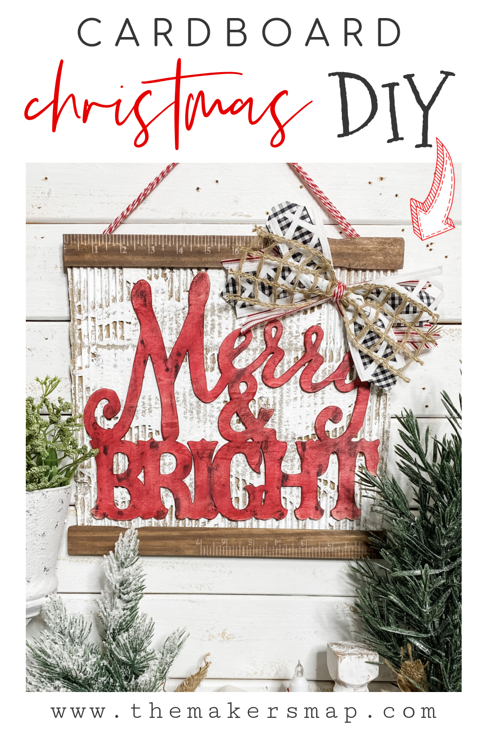 How To Diy A Christmas Merry And Bright Sign With Cardboard