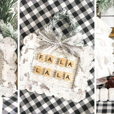 Dollar Tree Shabby Farmhouse Christmas Sign DIY