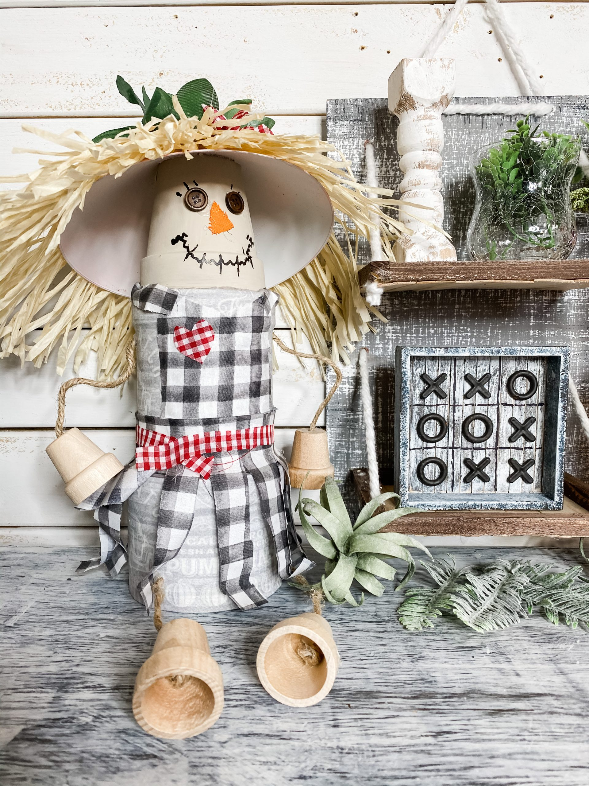 diy scarecrow shelf sitter