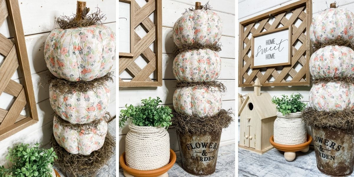 Make a Dollar Tree Fall Foam Pumpkin Topiary DIY.