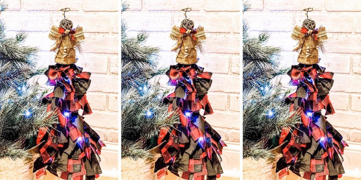 Dollar Tree DIY Shabby Chic Rag Bow Christmas Tree