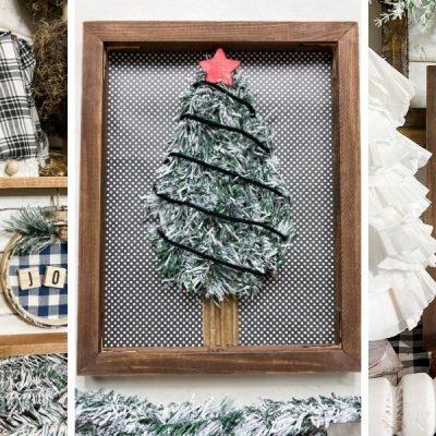 DIY Dollar Tree Reverse Canvas Christmas Tree Decor
