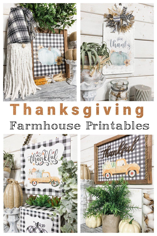 Thanksgiving Farmhouse Printables Buffalo Check