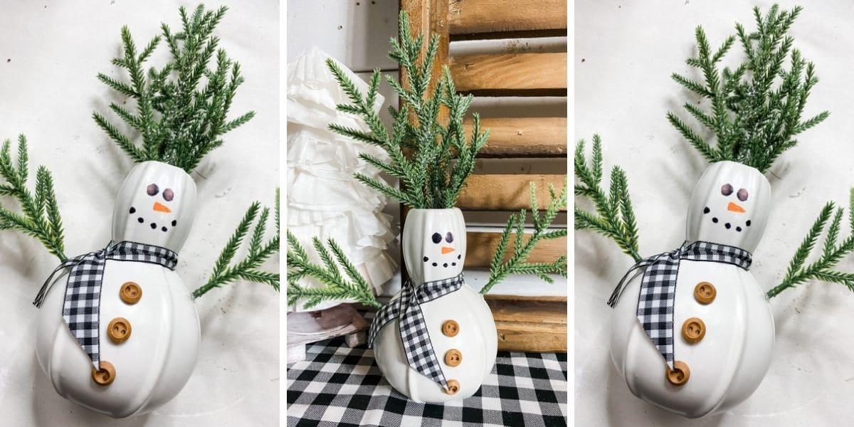Dollar Tree Vase DIY Christmas Snowman