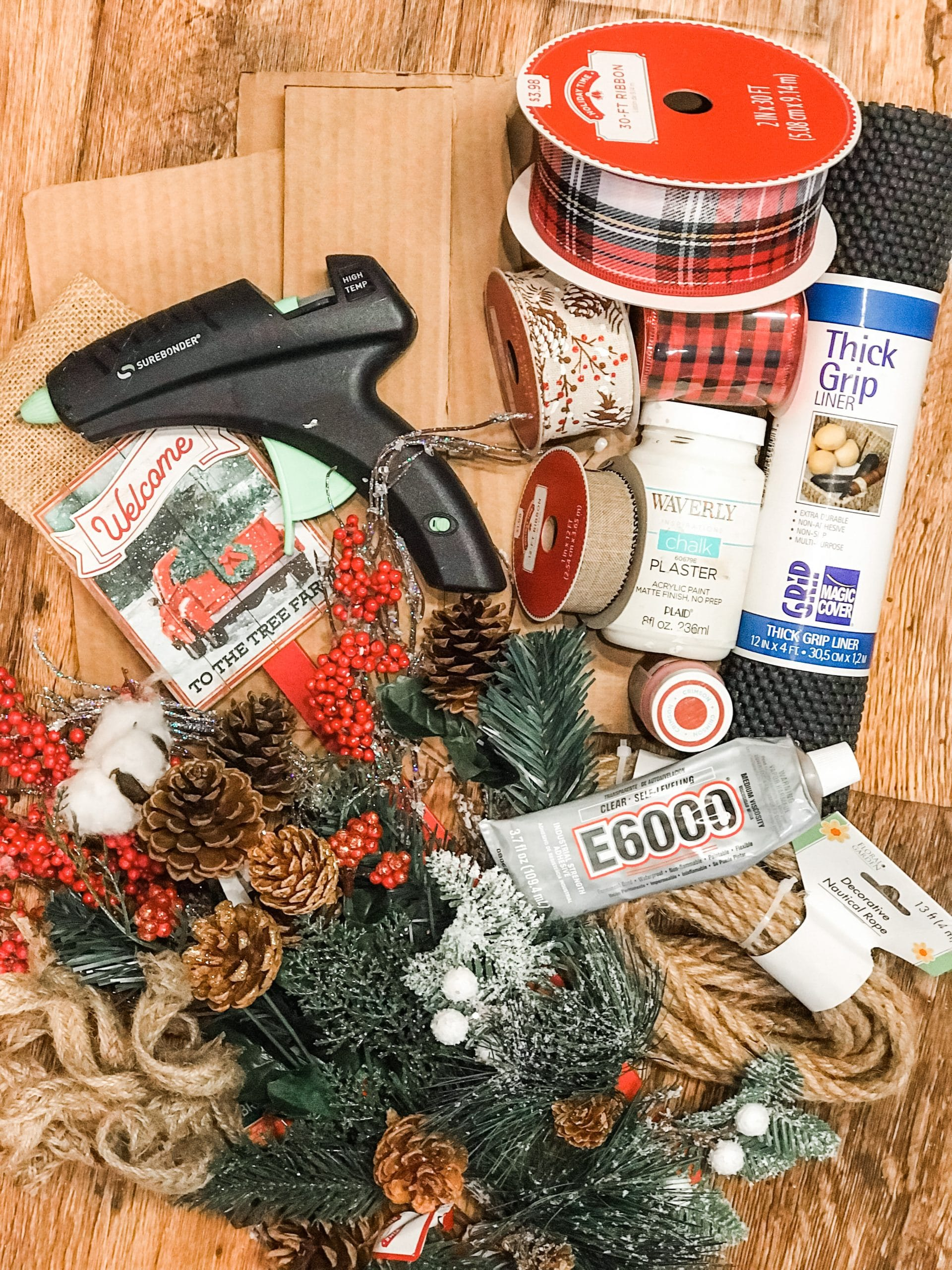 Pinterest Inspired DIY Christmas Wreath Basket