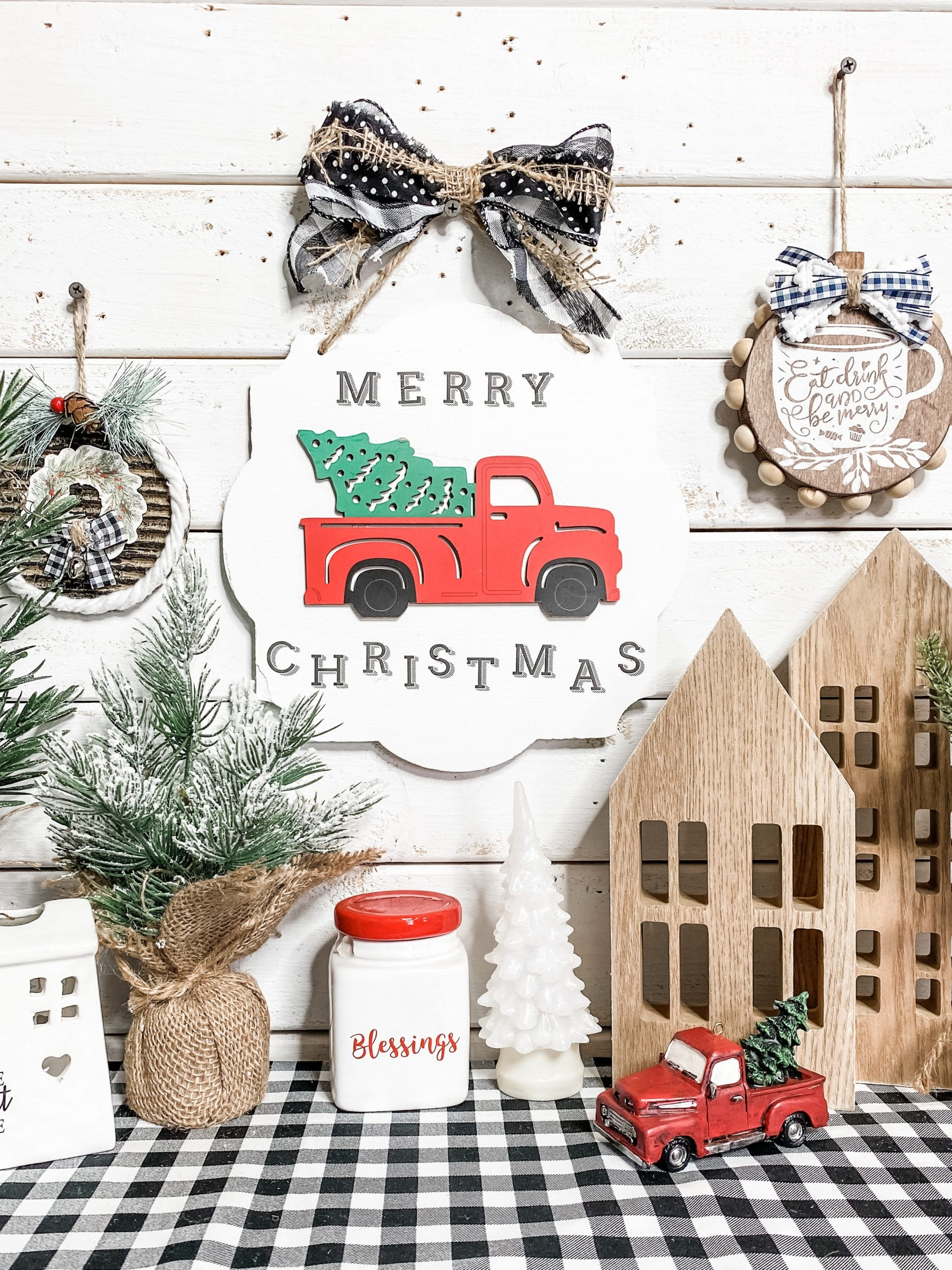 Dollar Tree Diy Red Truck Christmas Decor Easy And Affordable Diy