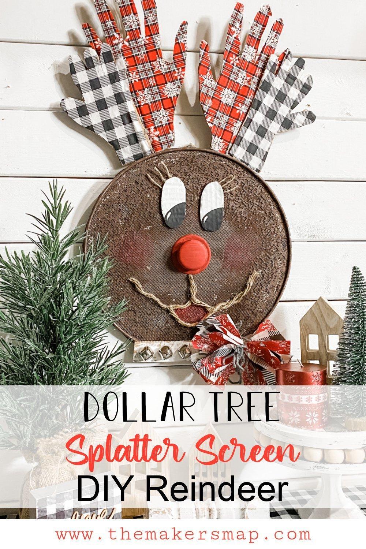 DIY Dollar Tree Splatter Screen Reindeer