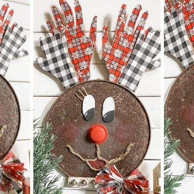 DIY Dollar Tree Splatter Screen Reindeer