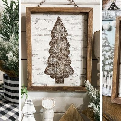 DIY Faux Rust Finish Scrapbook Paper Christmas Tree Sign