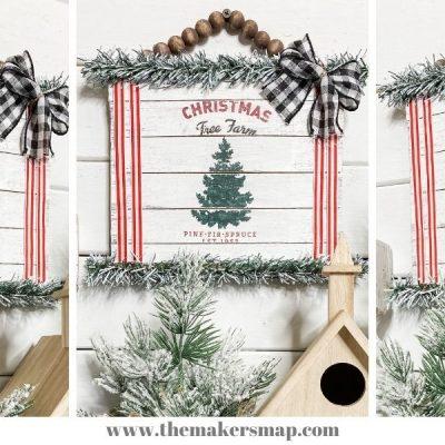Easy Napkin Decoupage DIY Christmas Sign