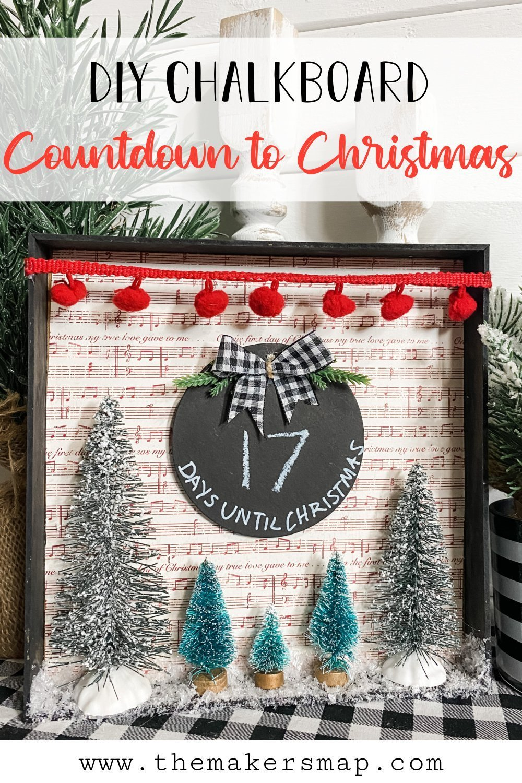 Dollar Tree Chalkboard DIY Countdown to Christmas Sign.