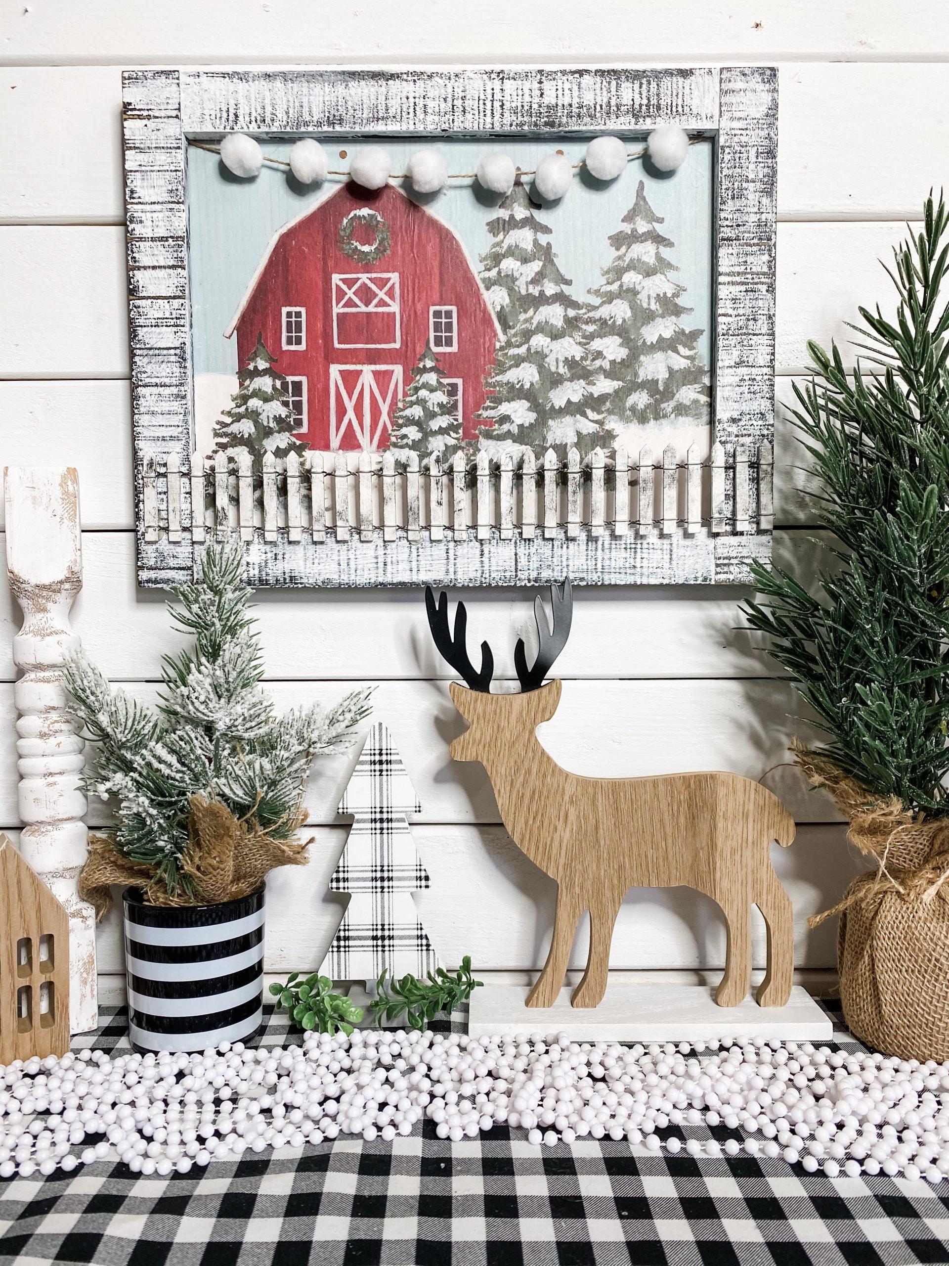 DIY Dollar Tree Gift Bag Christmas Barn Decor
