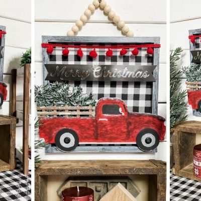 Dollar Tree Red Truck Gift Bag DIY Christmas Sign