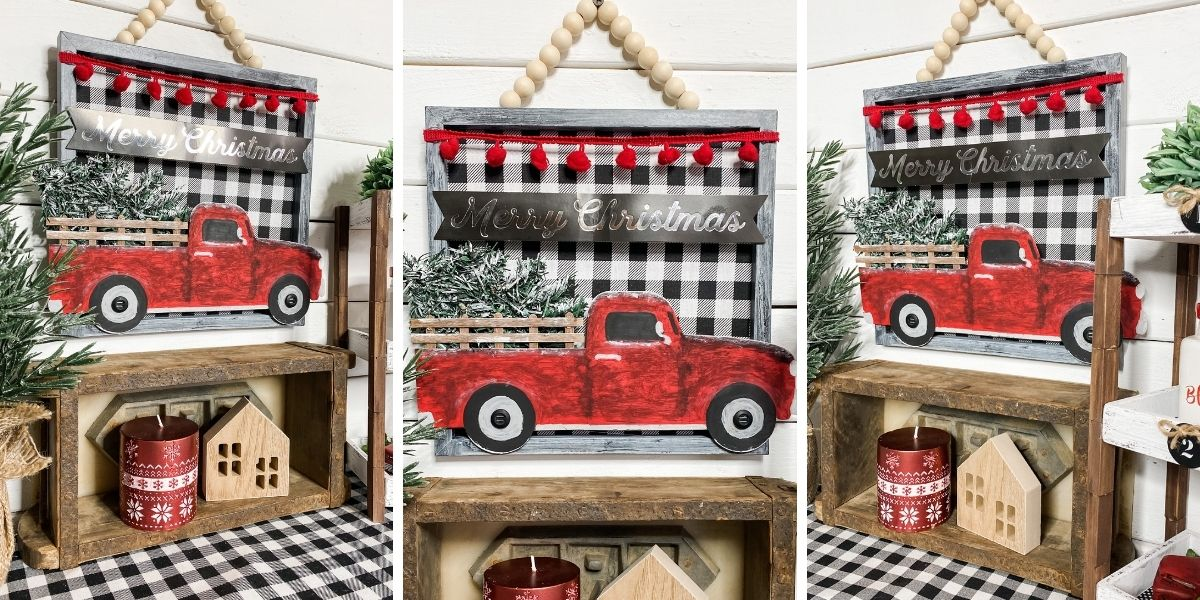 Dollar Tree Red Truck Gift Bag DIY Christmas Sign