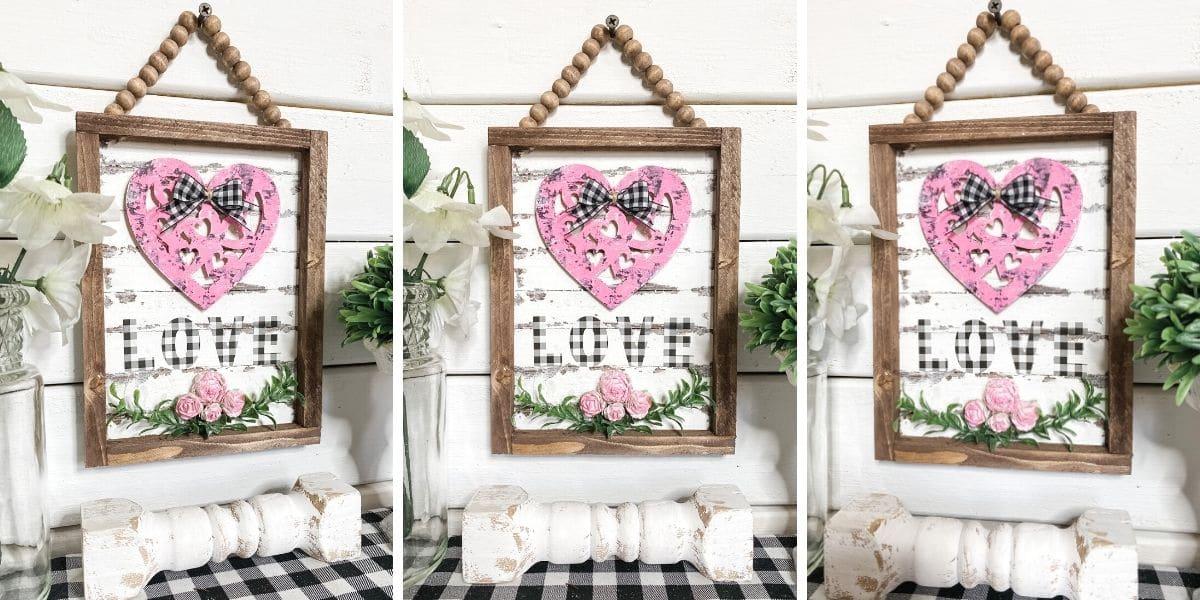 DIY Dollar Tree Reverse Canvas Valentine's Day Decor