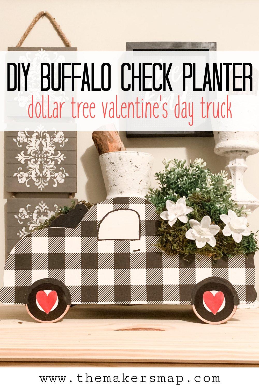 DIY Dollar Tree Truck Buffalo Check Planter