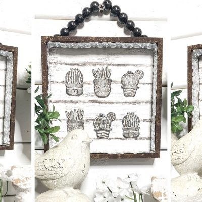 DIY Rustic Decor with Dollar Tree Cactus Succulent Stickers