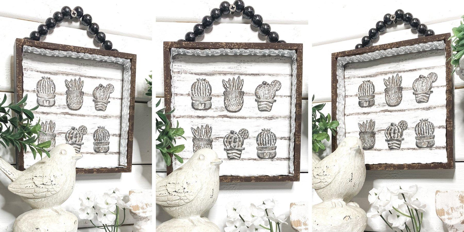 DIY Rustic Decor with Dollar Tree Cactus Succulent Stickers