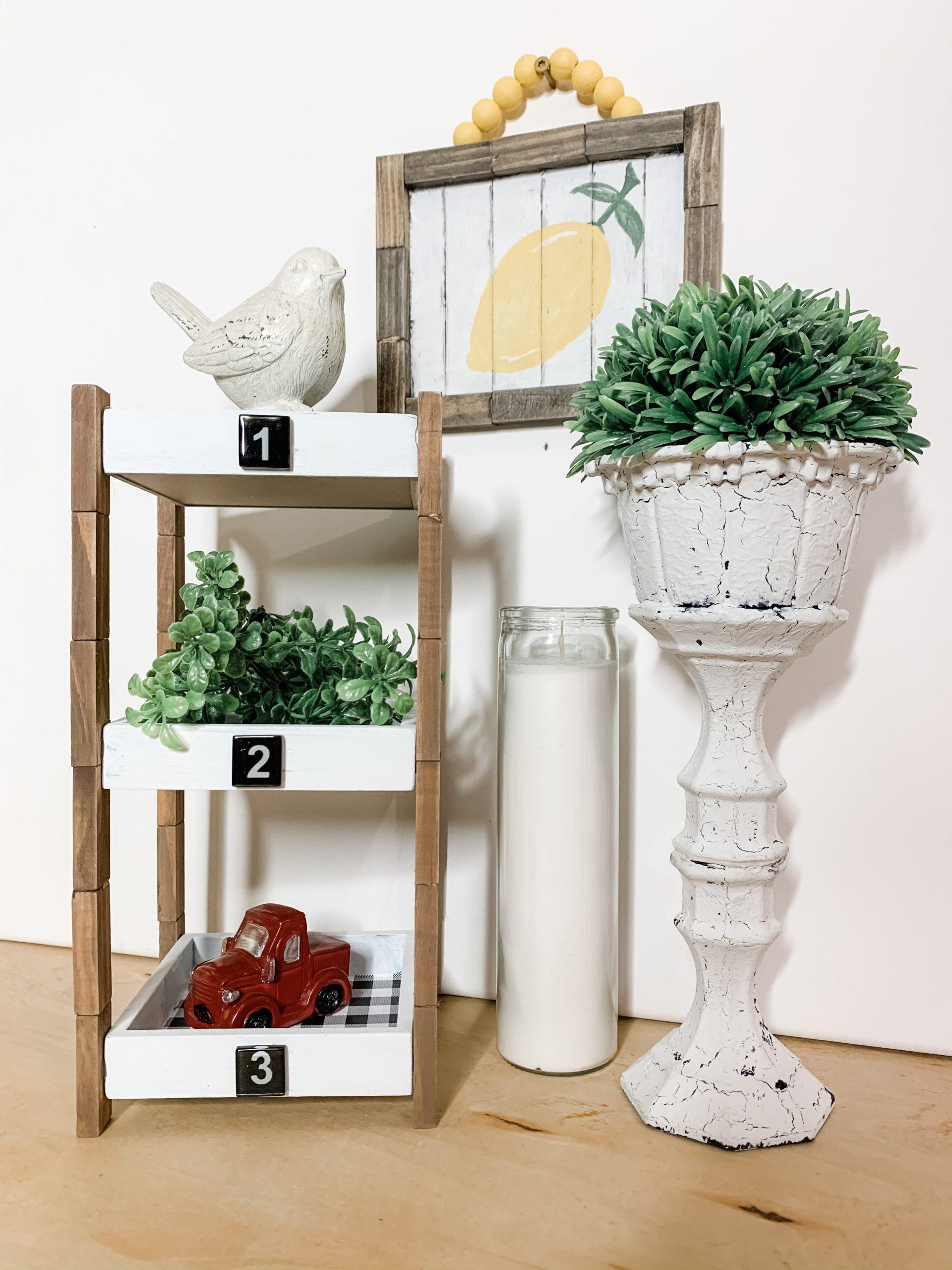 Rustic Dollar Tree DIY 3 Tiered Shelf