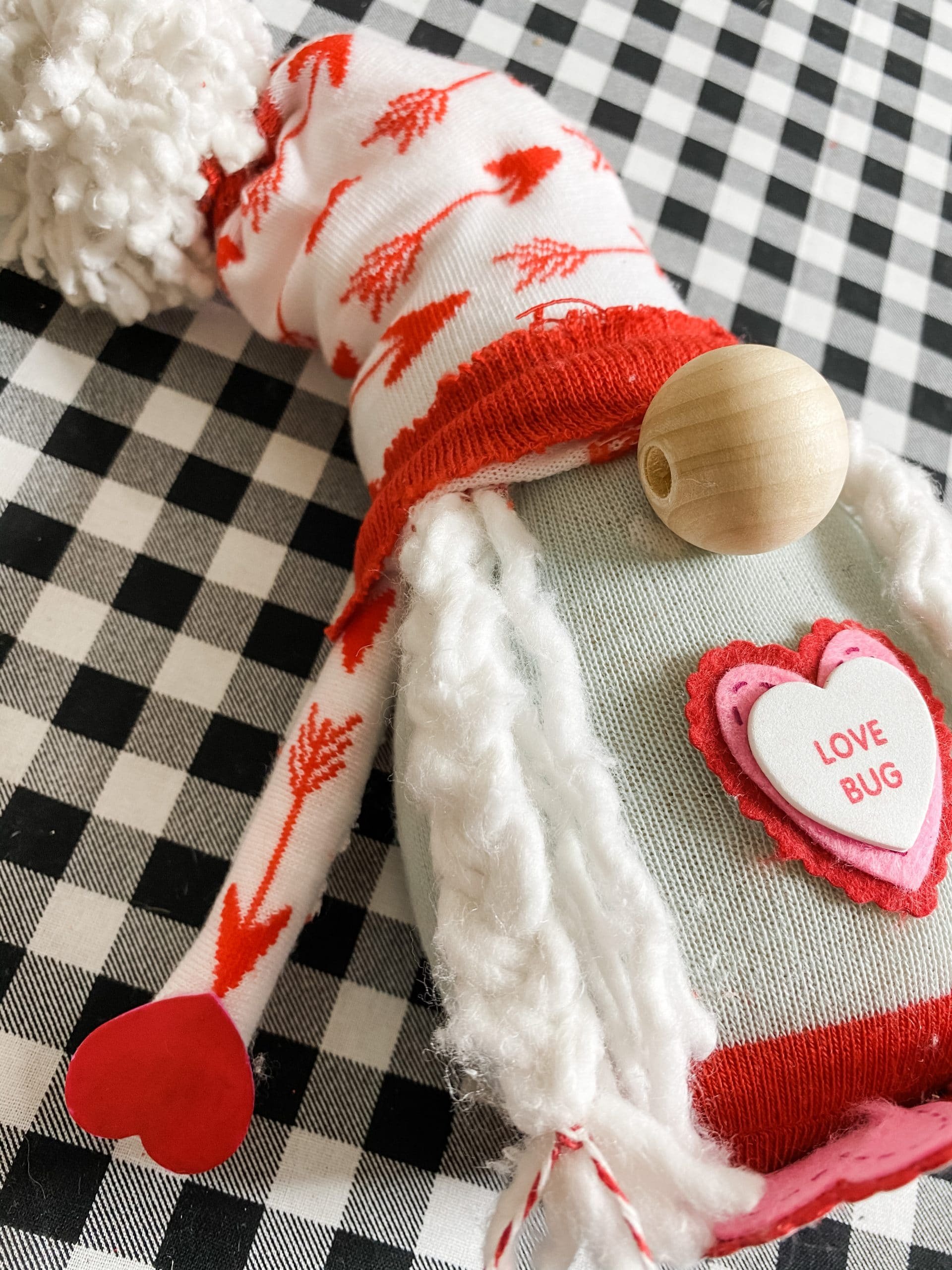 DIY Dollar Tree Mop and Sock Valentine's Day Gnome