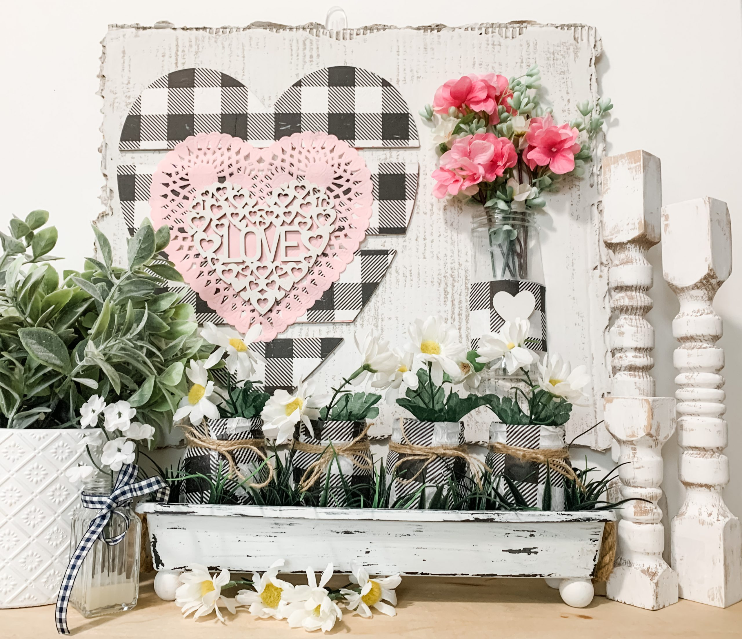 Valentine's Day or Spring Decor with Fake Flowers