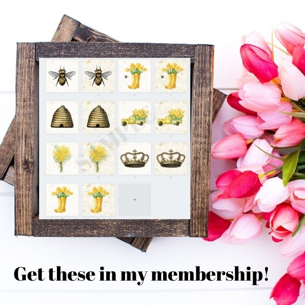 Vintage Bee and Crown Free Printable