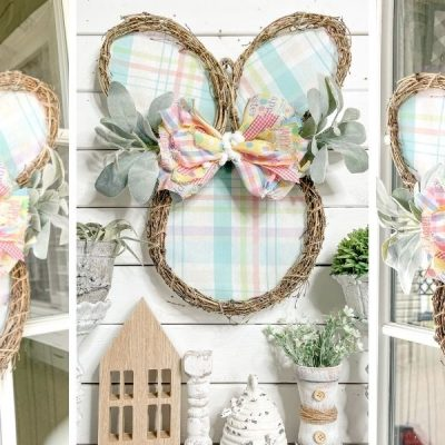 DIY Pastel Plaid and Grapevine Bunny