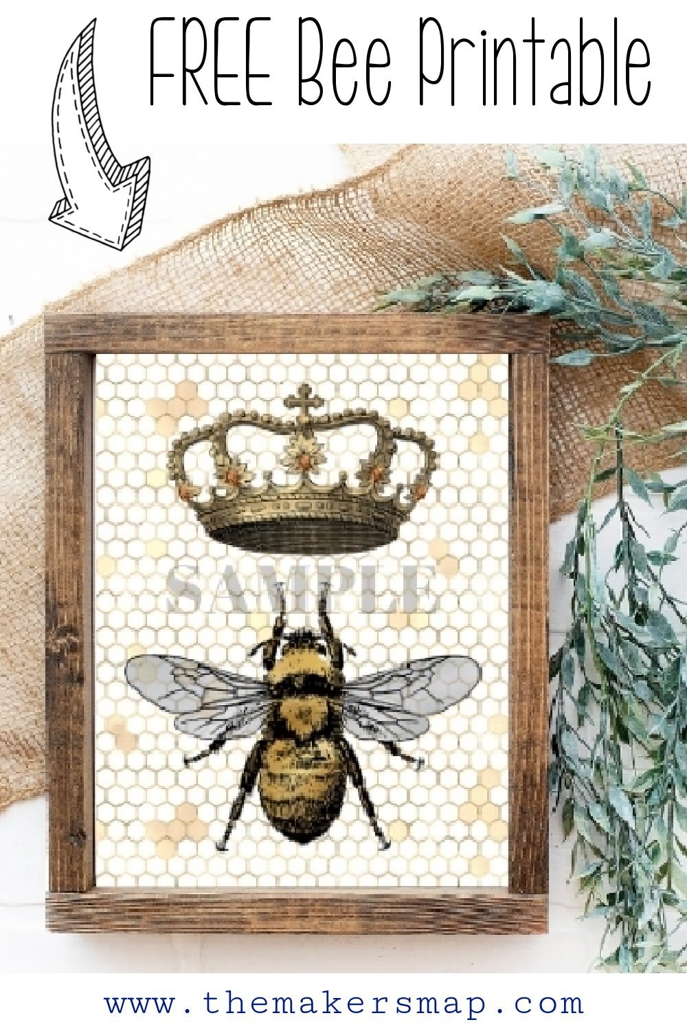 Queen Bee printable Crown and Bee Free print wall decor paper craft