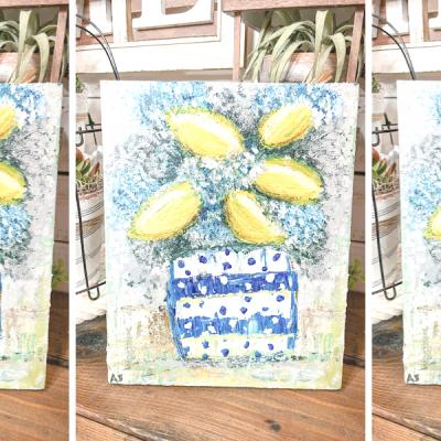 Flowers and Lemons Acrylic Painting