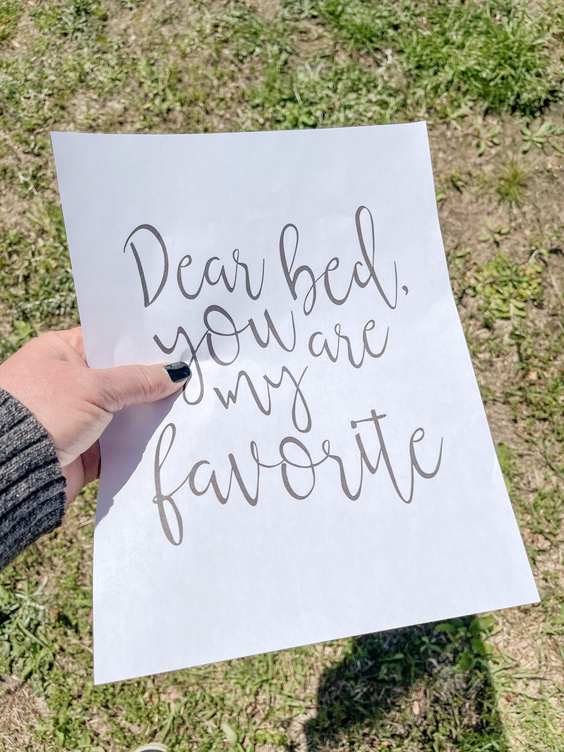 Free printable bedroom decor Dear Bed you are my favorite Freebie print