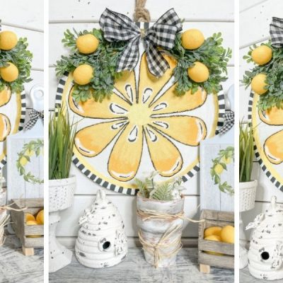 Dollar Tree Pizza Pan DIY Lemon Decor