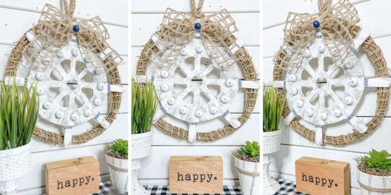 Dollar Tree Ship's Wheel DIY Nautical Decor