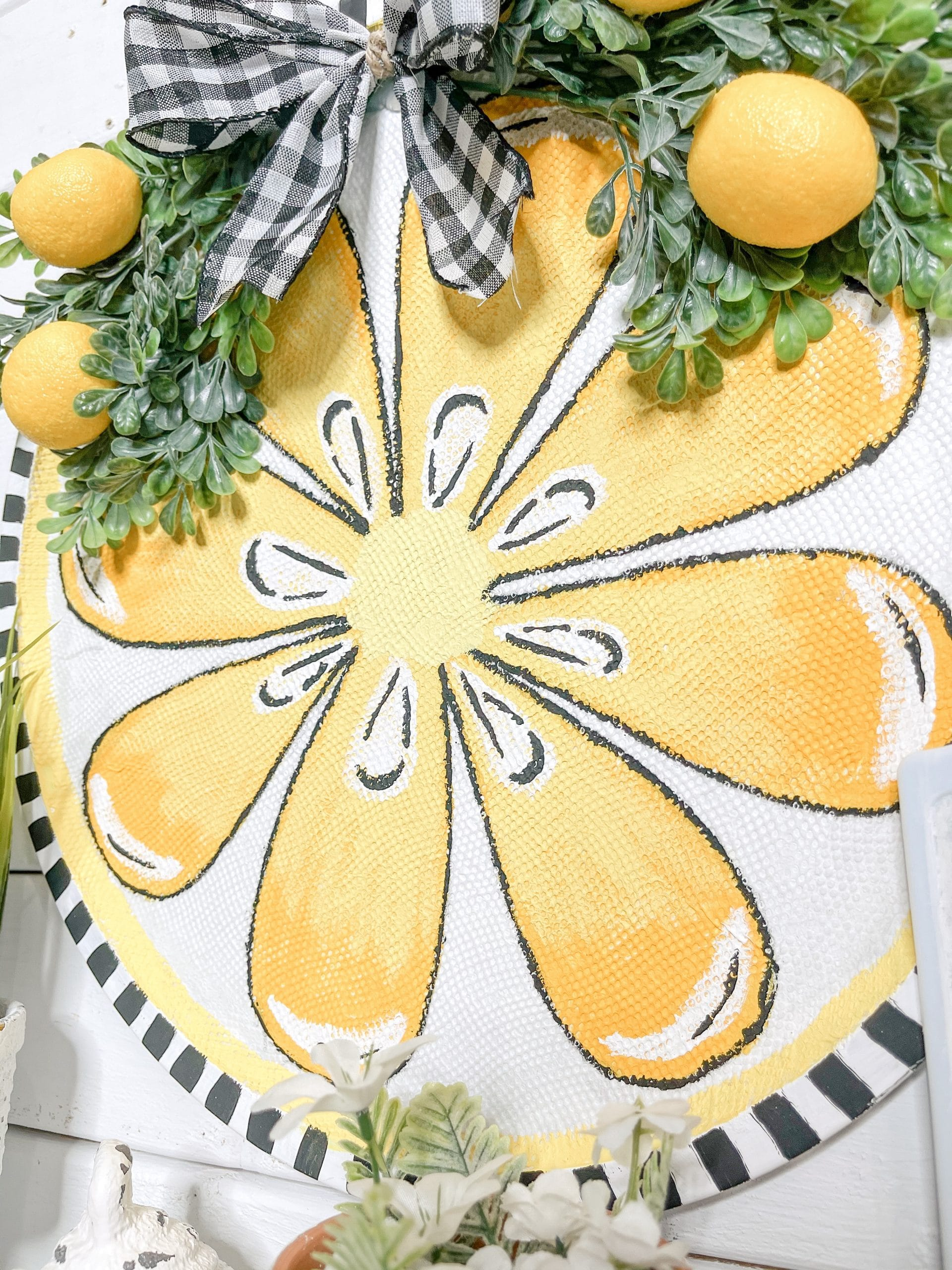 Dollar Tree Pizza Pan DIY Lemon Decor