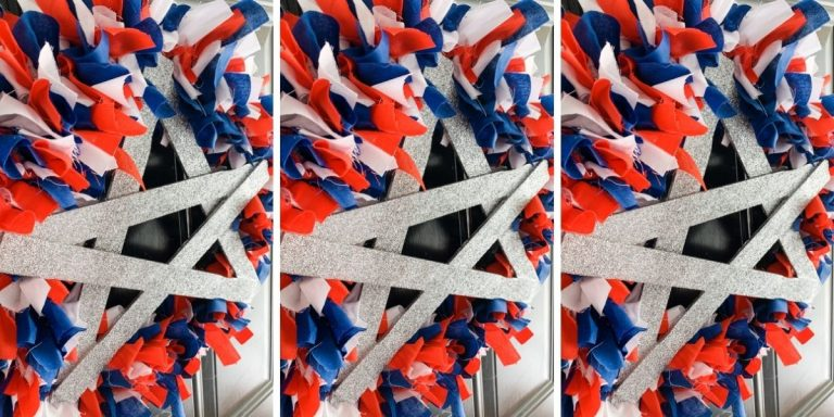DIY Red White and Blue Rag Wreath