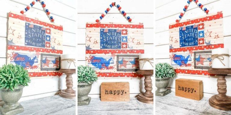 Repurposed Tablecloth DIY Patriotic Decor
