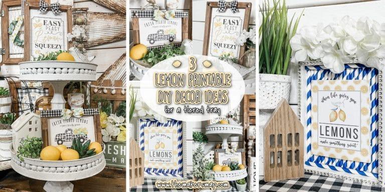 3 Lemon Printable DIY Decor Ideas for a Tiered Tray