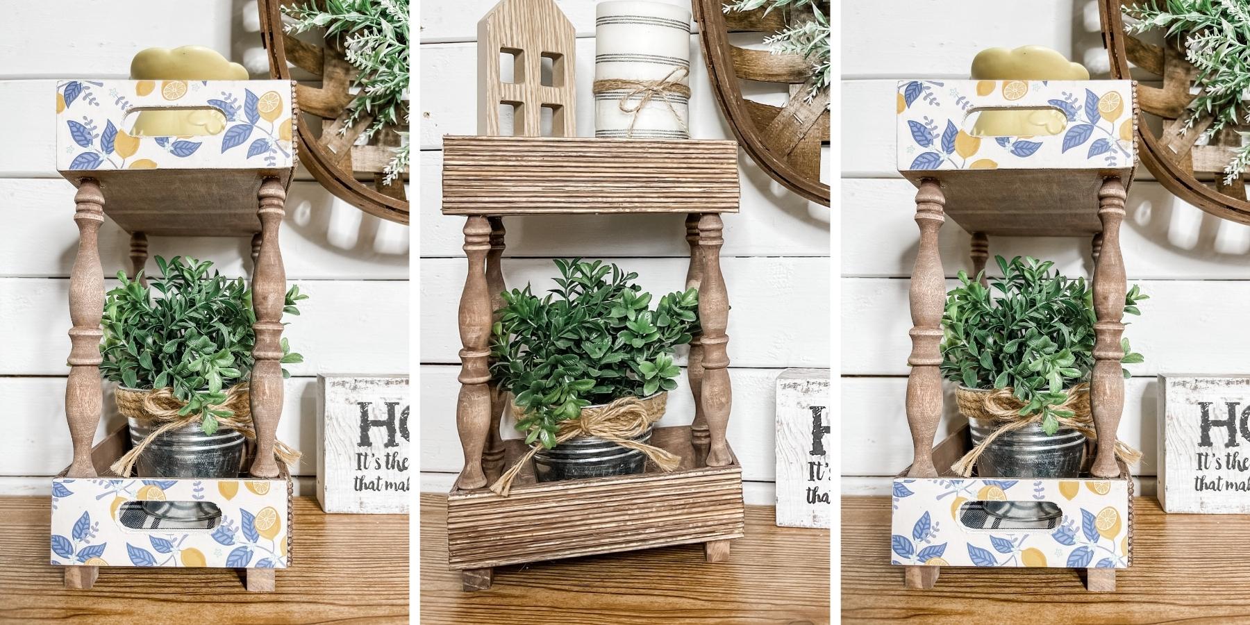 DIY Farmhouse Shelf with Lemon Scrapbook Paper