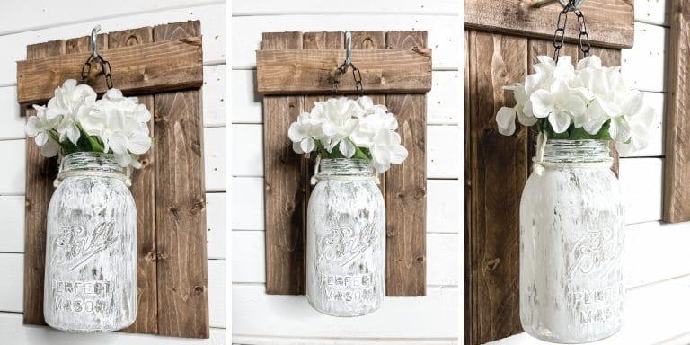 DIY Hanging Mason Jar Wall Sconces