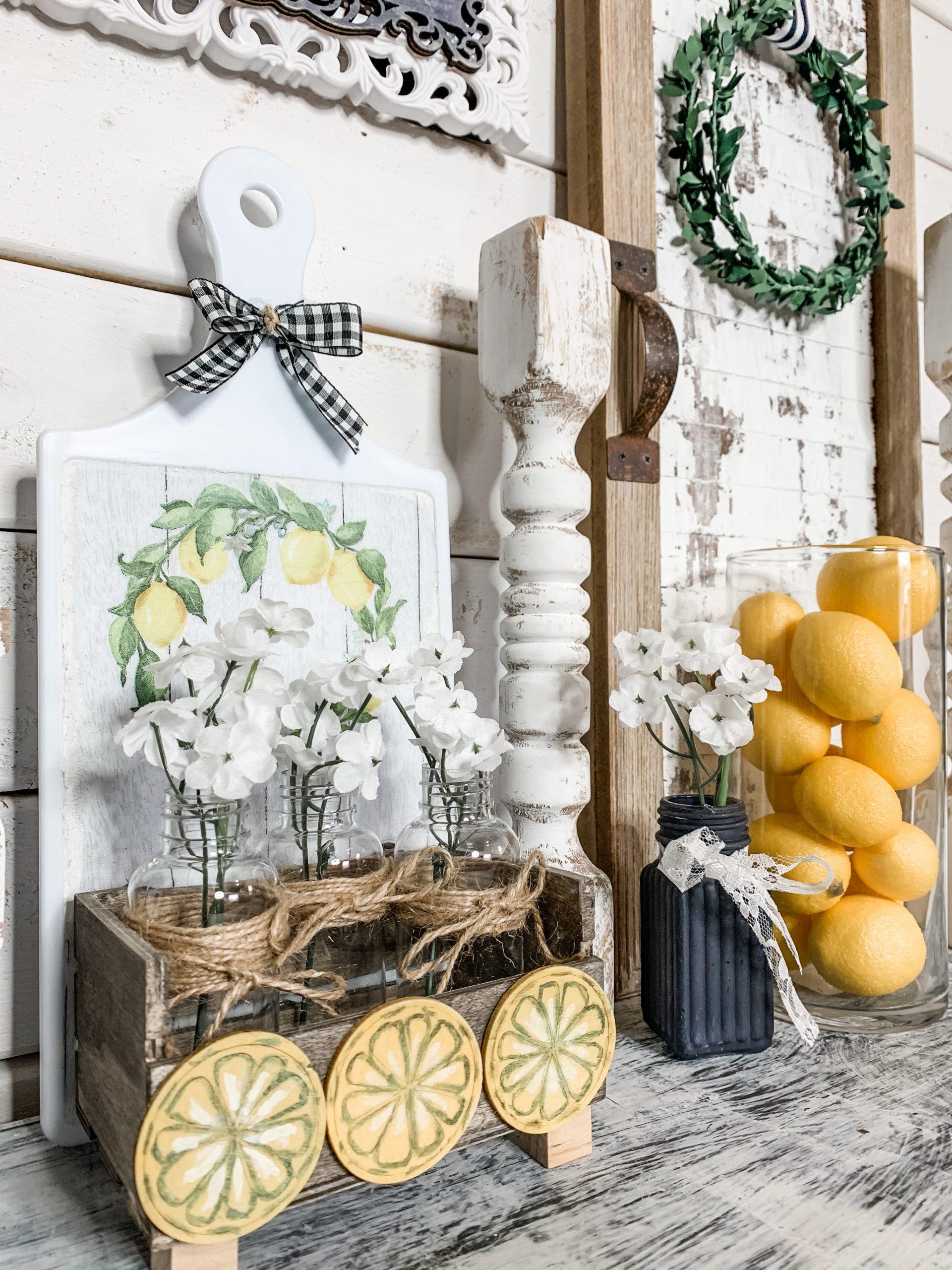 Dollar Tree DIY Farmhouse Lemon Cutting Board Decor