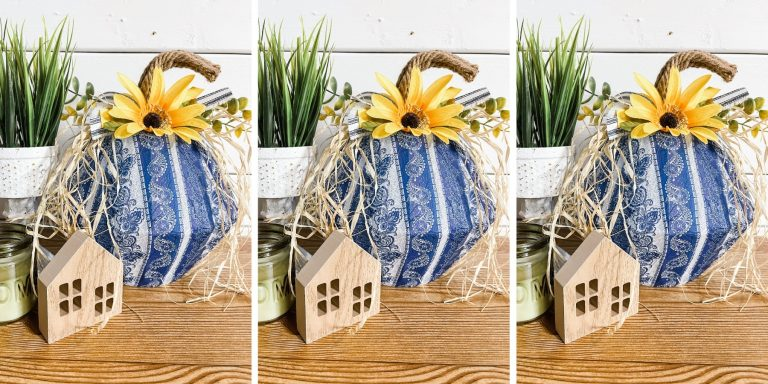 Blue and White Bowl Pumpkin for Fall