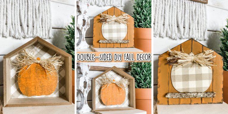 Double-Sided Fall Pumpkin Shelf Decor