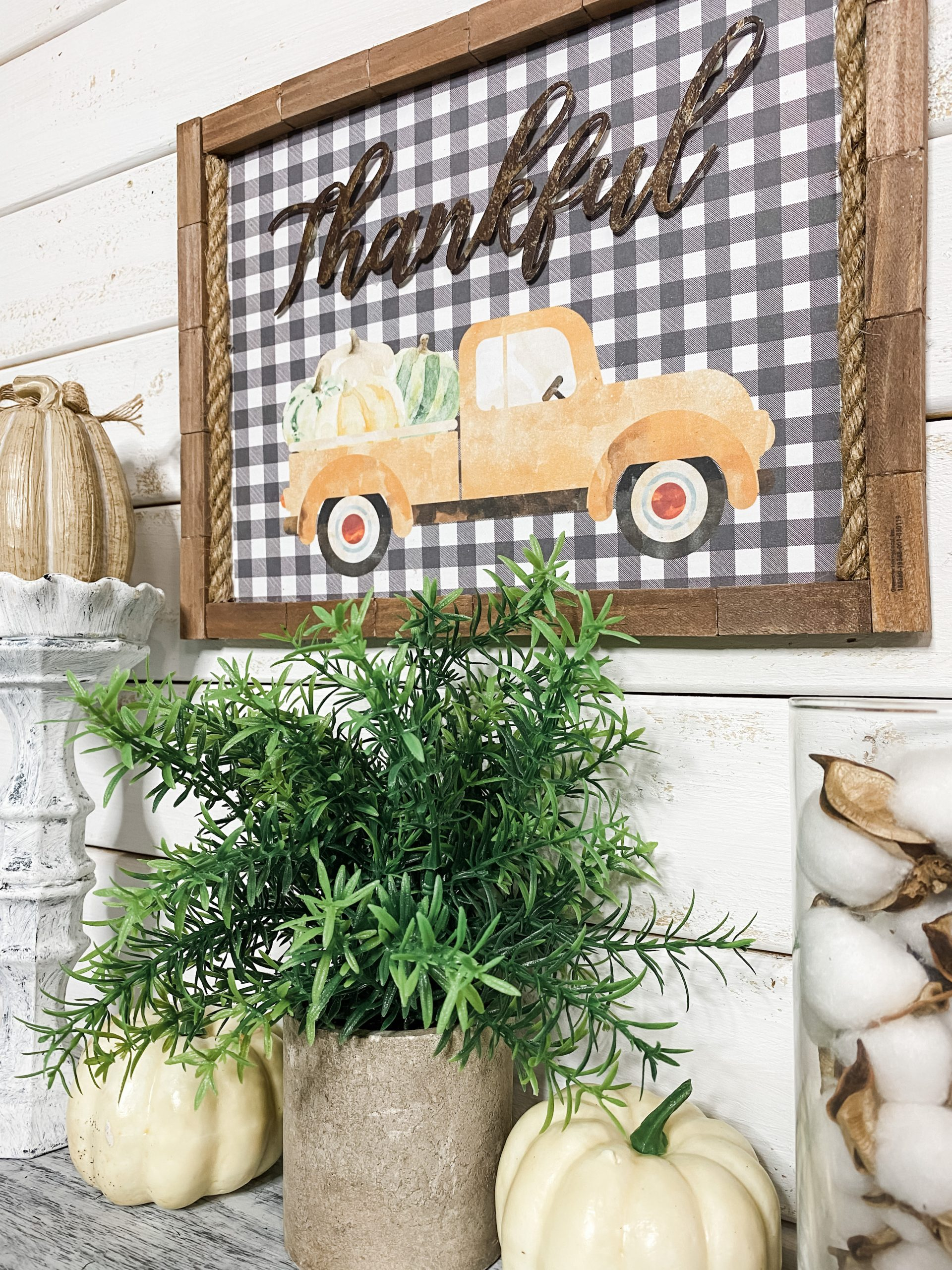 Thankful Sign with Fall Truck Printable