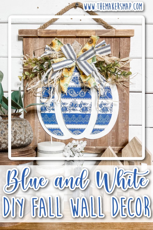 Blue and White Fall Pumpkin Wall Decor