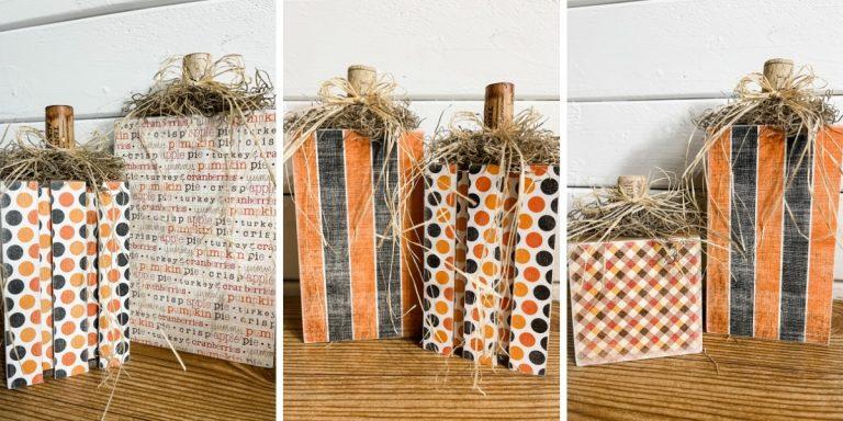 DIY Pumpkin Blocks Using Scrapbook Paper